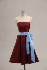 Fashionable Mini Length Zipper Wine Red for Prom and Party and Military Ball with Sashes ribbons