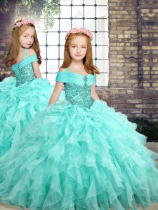 Sleeveless Floor Length Beading and Ruffles Lace Up Little Girls Pageant Dress with Aqua Blue