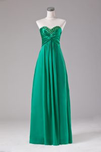 High Class Green Zipper Prom Evening Gown Beading Sleeveless Floor Length