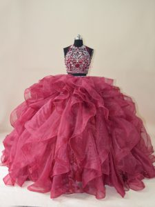 Trendy Backless Ball Gown Prom Dress Burgundy for Sweet 16 and Quinceanera with Beading and Ruffles Brush Train