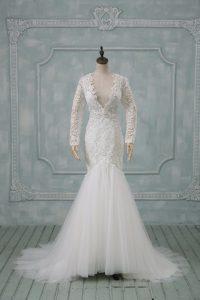 Free and Easy Brush Train Mermaid Wedding Dress White V-neck Tulle Long Sleeves Backless