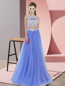 Latest Lavender Two Pieces Halter Top Sleeveless Tulle Floor Length Zipper Lace Wedding Guest Dresses