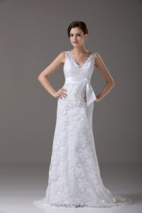 Free and Easy White Wedding Dress Lace Brush Train Sleeveless Lace and Belt