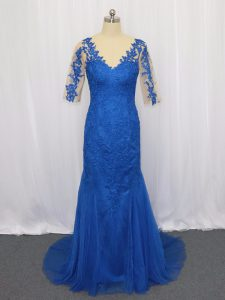 Enchanting Blue Tulle Zipper Prom Dress 3 4 Length Sleeve Brush Train Lace and Appliques