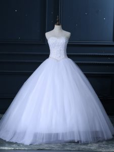 Edgy White Sweetheart Neckline Beading and Lace Wedding Gowns Sleeveless Lace Up