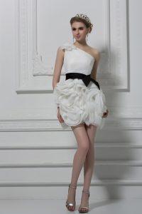 Sleeveless Belt and Hand Made Flower Side Zipper Wedding Dresses
