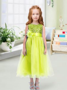 Tea Length Zipper Toddler Flower Girl Dress Yellow Green for Wedding Party with Sequins and Hand Made Flower