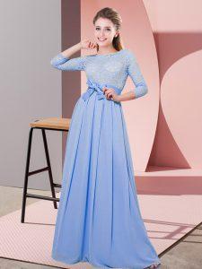 Ideal Floor Length Lavender Damas Dress Scoop 3 4 Length Sleeve Side Zipper