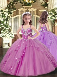 Adorable Beading and Ruffles Little Girls Pageant Dress Lilac Lace Up Sleeveless Floor Length