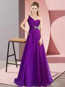 Empire Sleeveless Purple Prom Dress Brush Train Criss Cross