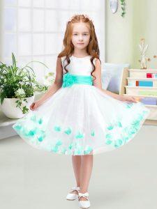 Elegant Knee Length White Toddler Flower Girl Dress Scoop Sleeveless Zipper