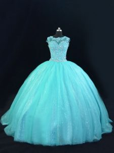 Sleeveless Tulle Floor Length Lace Up 15th Birthday Dress in Aqua Blue with Beading and Lace