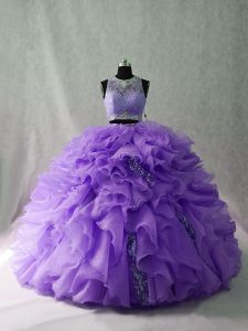 Floor Length Ball Gowns Sleeveless Lavender Quince Ball Gowns Brush Train Zipper