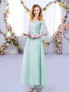 Discount Floor Length Light Blue Bridesmaids Dress Tulle Half Sleeves Lace and Belt