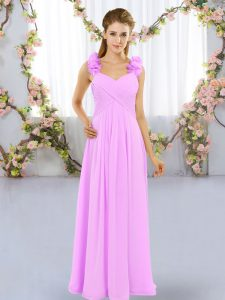 Perfect Lilac Straps Lace Up Hand Made Flower Bridesmaid Gown Sleeveless
