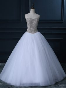 Great Tulle Sweetheart Sleeveless Zipper Beading and Bowknot Bridal Gown in White