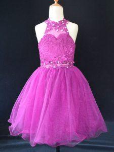 Halter Top Sleeveless Lace Up Little Girls Pageant Dress Fuchsia Organza