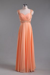 Orange Chiffon Backless Prom Gown Sleeveless Floor Length Beading