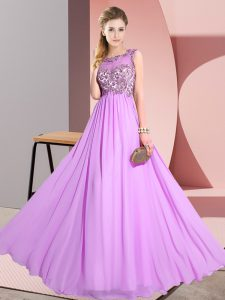 Floor Length Lilac Wedding Party Dress Chiffon Sleeveless Beading and Appliques