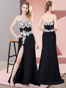 Beautiful Floor Length Black Chiffon Sleeveless Lace and Appliques