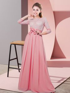 Shining Scoop 3 4 Length Sleeve Wedding Guest Dresses Floor Length Lace and Belt Watermelon Red Chiffon