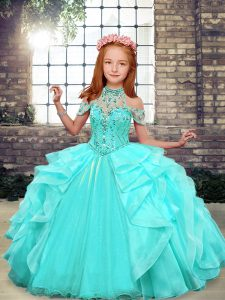 Low Price Aqua Blue High-neck Neckline Beading and Ruffles Little Girls Pageant Dress Sleeveless Lace Up