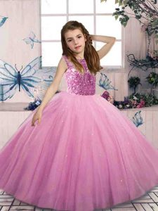 Beading Child Pageant Dress Lilac Lace Up Sleeveless Floor Length
