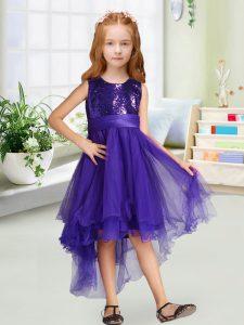 Edgy A-line Toddler Flower Girl Dress Purple Scoop Organza Sleeveless High Low Zipper