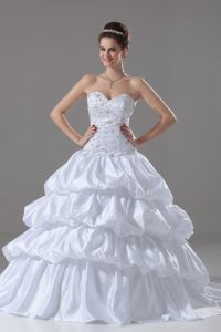 Popular White Ball Gowns Embroidery and Pick Ups Wedding Dresses Lace Up Taffeta Sleeveless