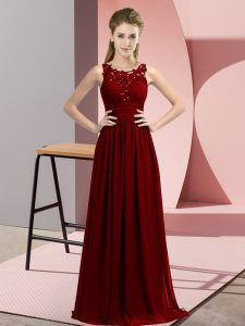 Affordable Scoop Sleeveless Chiffon Wedding Guest Dresses Beading and Appliques Zipper
