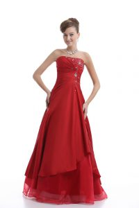 Cute Floor Length Red Prom Dresses Organza Sleeveless Embroidery