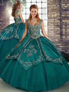 Trendy Ball Gowns Quinceanera Dress Teal Straps Tulle Sleeveless Floor Length Lace Up