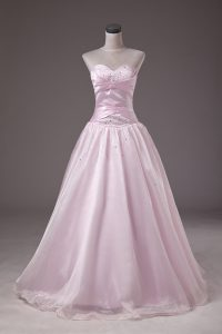 Dynamic Sweetheart Sleeveless Organza Quinceanera Gown Beading Lace Up