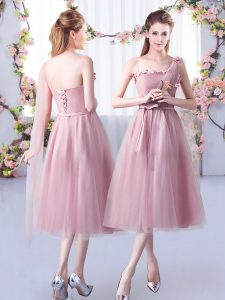 Pink Sleeveless Tulle Lace Up Dama Dress for Quinceanera for Wedding Party