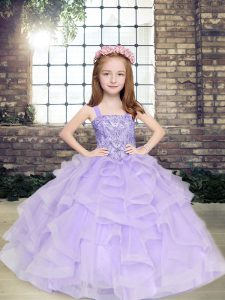 Floor Length Lavender Little Girls Pageant Dress Straps Sleeveless Lace Up