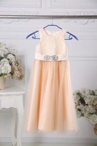 Pretty Peach Tulle Zipper Flower Girl Dresses Sleeveless Floor Length Lace and Belt
