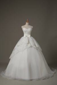 Fitting Sleeveless Beading and Lace and Bowknot Lace Up Wedding Dress with White Brush Train