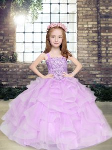 Floor Length Lace Up Little Girl Pageant Gowns Lavender for Party and Military Ball and Wedding Party with Beading and R