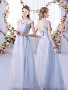 Sophisticated Tulle High-neck Cap Sleeves Lace Up Lace Damas Dress in Grey