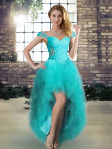 Aqua Blue Off The Shoulder Lace Up Beading and Ruffles Prom Evening Gown Sleeveless