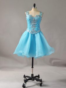 Sleeveless Mini Length Beading Zipper Prom Evening Gown with Aqua Blue