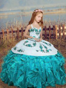 Cheap Ball Gowns Little Girls Pageant Dress Aqua Blue Straps Organza Sleeveless Floor Length Lace Up