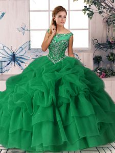 Superior Green Scoop Neckline Beading and Pick Ups Sweet 16 Dresses Sleeveless Zipper
