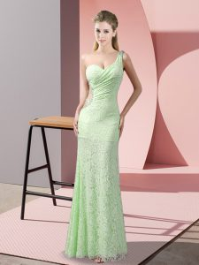 Fantastic One Shoulder Sleeveless Evening Dress Floor Length Beading and Lace Lace