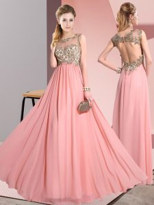 Traditional Empire Wedding Party Dress Pink Scoop Chiffon Sleeveless Floor Length Backless