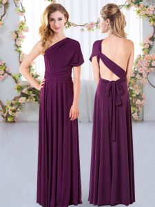 One Shoulder Sleeveless Wedding Guest Dresses Floor Length Ruching Dark Purple Chiffon