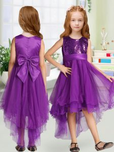 Clearance Purple Scoop Zipper Sequins and Bowknot Flower Girl Dresses Sleeveless