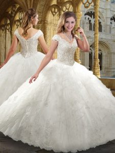 Cap Sleeves Zipper Floor Length Beading and Ruffles Wedding Dress