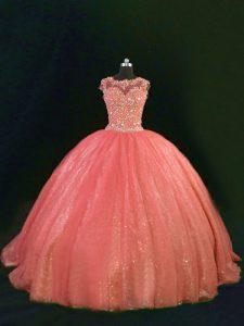 Extravagant Sleeveless Floor Length Beading and Lace Lace Up Sweet 16 Dresses with Orange