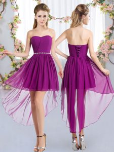 Flirting Strapless Sleeveless Vestidos de Damas High Low Beading Purple Chiffon